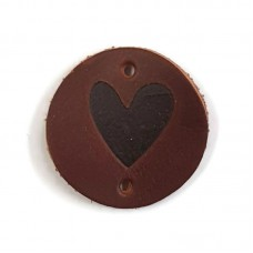 Leather Label Heart Brown