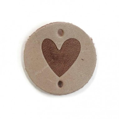 Leather Label Heart Taupe