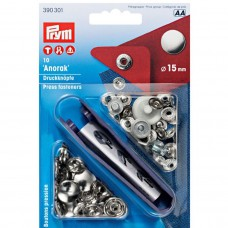 15mm Prym Anorak press studs Silver
