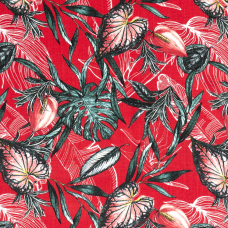 JERSEY PRINTED FLOWERS RED