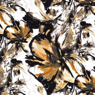 JERSEY PRINTED FLOWERS BROWN