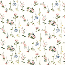 VISCOSE WITH FLOWERS IN WHITE