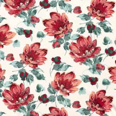 CREPE WRINKLE-FREE PRINTED FLOWERS OFF-WHITE