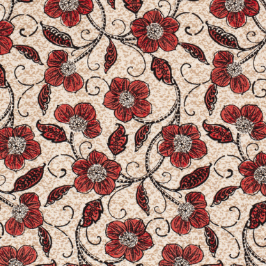 HALF LINEN FABRIC PRINTED FLOWERS RED
