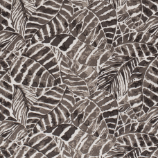 HALF LINEN FABRIC PRINTED LEAVES BROWN TAUPE