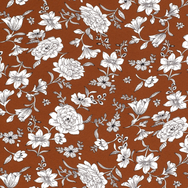 GEORGETTE FABRIC DIGITALLY PRINTED FLORAL BRIQUE