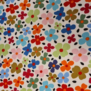 JERSEY FABRIC PRINTED FLORAL OPTICAL WHITE