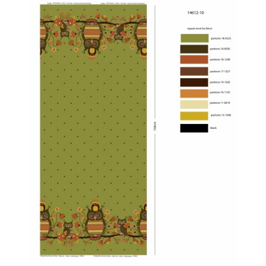 Owls border print Green