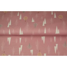 All over french terry trees pink