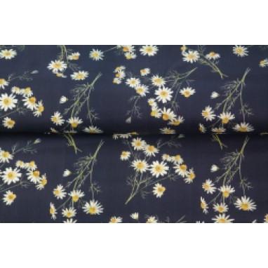 Stenzo poplin chamomile dark blue