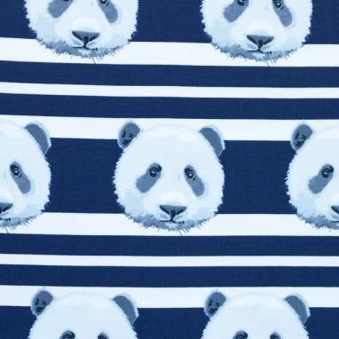 Jersey Printed Stripes Panda Dark Blue