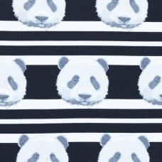 Jersey Printed Stripes Panda Black