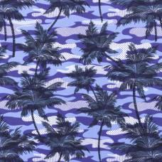 Tricot Bedrukt Armyprint Palm Blauw