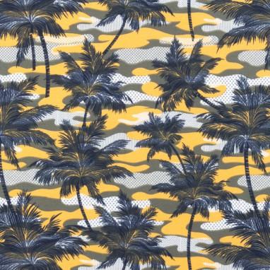 Tricot Bedrukt Armyprint Palm Oker