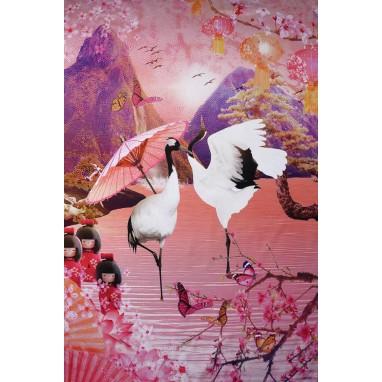 JAPANESE BIRDS PANEL