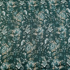 Elastic Cotton Green with Flowers