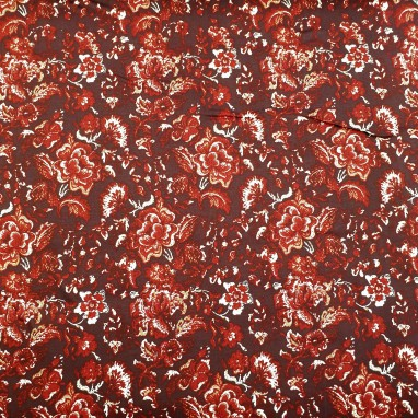 Elastic Cotton Red With Flowers