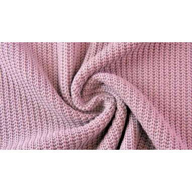 Cotton Knitted Cable Old Rose