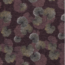 KNITTED FABRIC PRINTED FLOWERS BORDEAUX