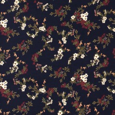 VISCOSE FABRIC PRINTED FLOWERS NAVY